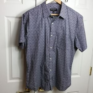 Banana Republic Navy Print Short Sleeve Shirt XL
